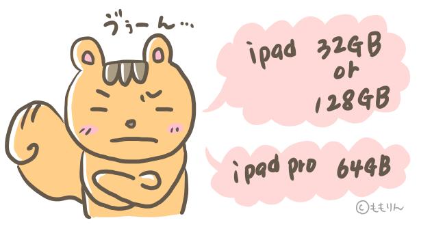 iPad ProとiPadの容量に悩んでいるイラスト